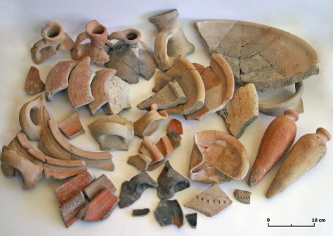 Image: pieces of pottery discovered in Jerusalem's City of David