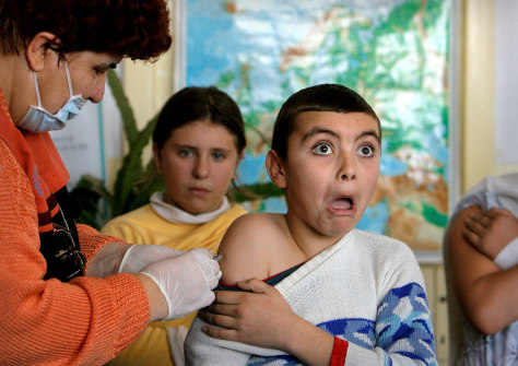Image: Boy getting a shot
