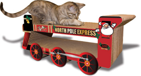 Image: Cat on toy train
