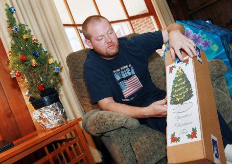 Image: James Ward and Christmas tree