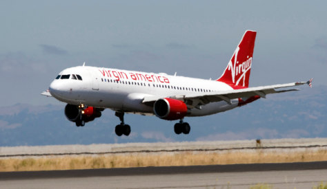Image: Virgin America plane arrives at San Francisco International Airport from JFK