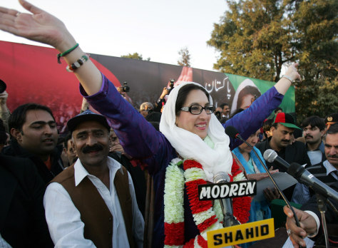 Image: Pakistani former premier Benazir Bhutto waves to her supporters at an election compaign rally in Rawalpindi where she was later killed by a suicide attack.