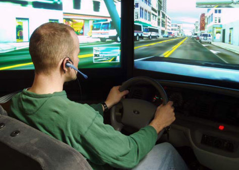 Image: Driver wearing hands-free headset