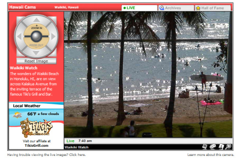 Image: front page of Hawaii Cams, which links to a live view of the beach