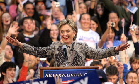 IMAGE: Sen. Clinton celebrates in New Hampshire