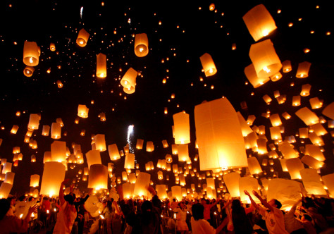 Image: Floating lanterns or 'Yee Peng' during the Loy Kratong festival in Chiang Mai