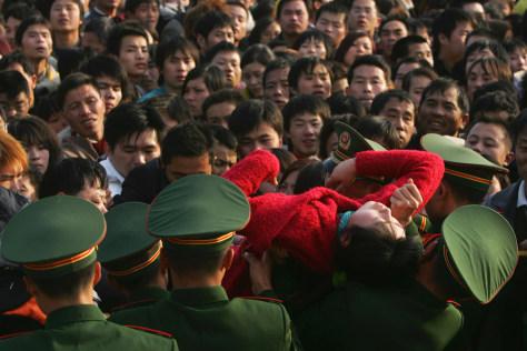 Image: Chinese train station crush