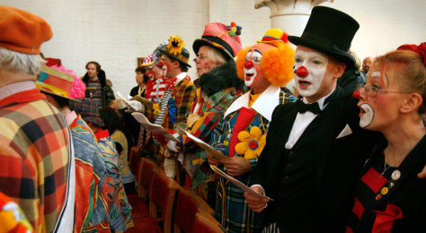 Image: Clowns sing in London
