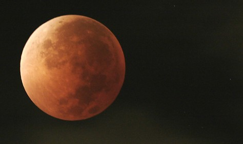 Image: a lunar eclipse over Mexico City