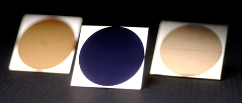 Image: Gold aluminum, blue titanium and gold platinum