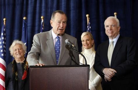 Image: John McCain, George H.W. Bush, Barbara Bush, Cindy McCain