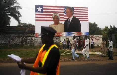 Image: Billboard welcomes Bush