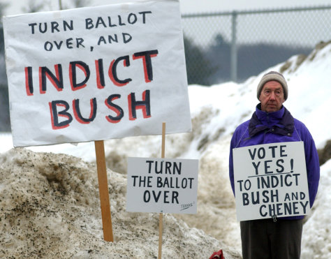 Image: A supporter of indicting President Bush in Brattleboro, Vermont.