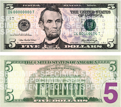 Image: New $5 bill