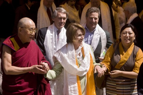 Image: The Dalai Lama, House Speaker Nancy Pelosi and Vice Speaker Dolma Gyar