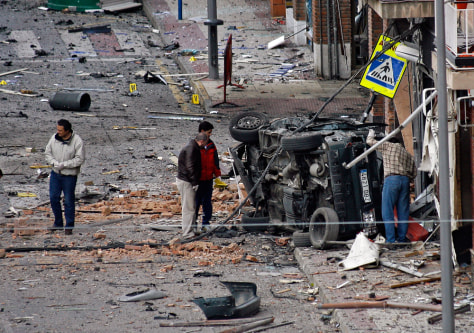 Image: Scene of a car bomb that exploded outside a police station in Calahorra, Spain.