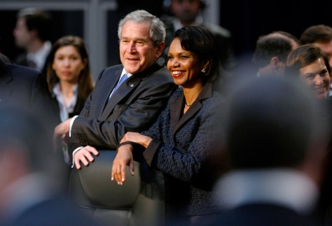 Image: President Bush and Secretary of State Rice at the NATO summit in Bucharest.