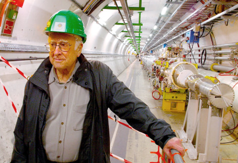 Image: Peter Higgs at the Large Hadron Collider