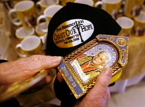 Image: Merchandise commemorating Pope Benedict XVI's upcoming visit.