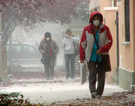 Image: Ash on streets as people wear surgical facemasks