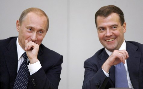 Image: Medvedev and Putin