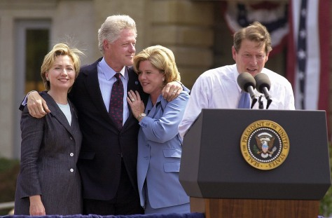 Image: Hillary and Bill Clinton with Tipper and Al Gore campaigning in 2000.