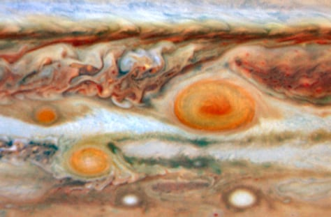 Image: Three red spots on Jupiter