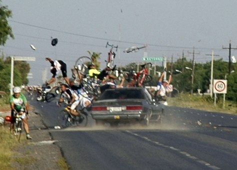Image: Car crashes into Mexican bike race