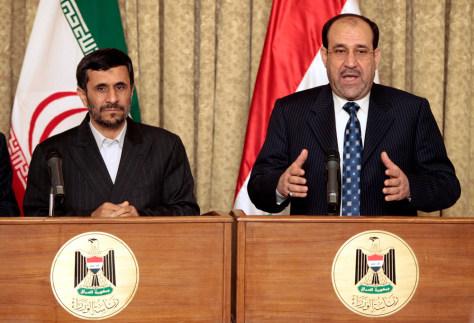 Image: Iranian President Mahmoud Ahmadinejad and Iraqi Prime Minister Nouri al-Maliki