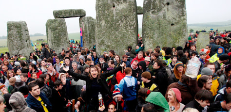 Image: Summer Solstice revelers at the Stonehenge site