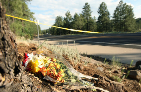 Image: A small memorial near the crash site of two medical helicopters