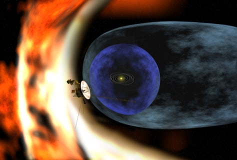 Image: Artist's rendering of Voyager 2 spacecraft studying heliosphere