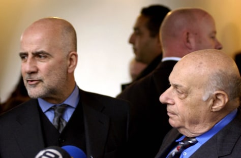 Image: UN special adviser on Cyprus Alvaro de Soto, left, with Turkish Cypriot leader Rauf Denktash, right.