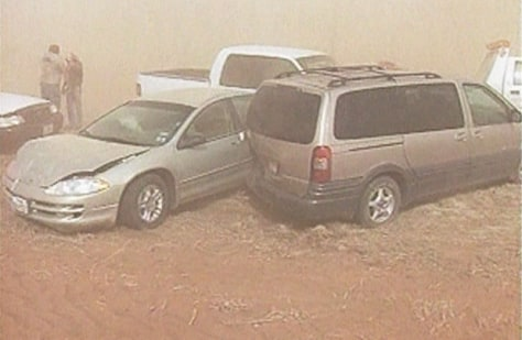 Crashed cars in dust storm
