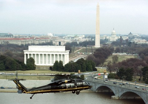 US CUSTOMS BORDER PROTECTION BLACKHAWK HELICOPTER NEAR MONUMENTS IN WASHINGTON