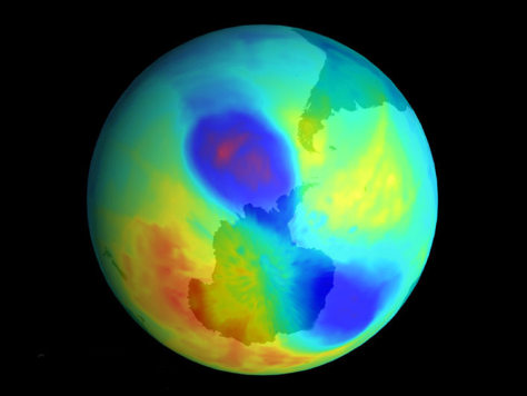THE ANTARCTIC OZONE HOLE SPLIT INTO TWO HOLES