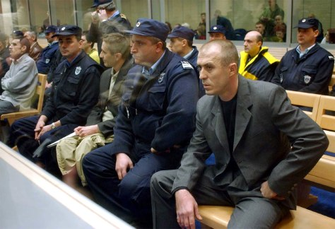 ZVEZDAN JOVANOVIC APPEARS AT TRIAL FOR ASSASSINATION OF SERBIAN PRIME MINISTER DJINDJIC IN BELGRADE