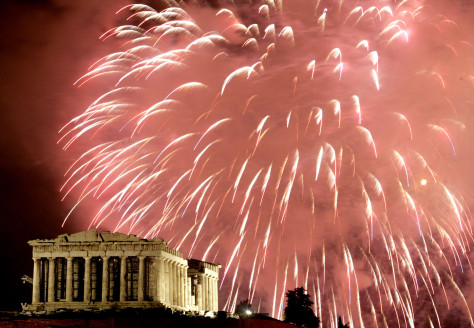 Image: Fireworks explode over the Parthenon