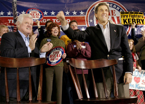 John Kerry Campaigns With Ted Kennedy In Iowa