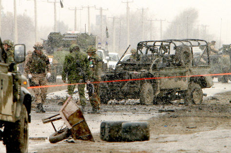 Image: NATO forces guard scene of attack in Kabul