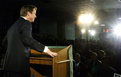 PRESIDENTIAL CANDIDATE EDWARDS SPEAKS TO STUDENTS