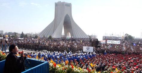 Image: Iranian President Mohammad Khatami speaks in Azadi square, in Tehran.