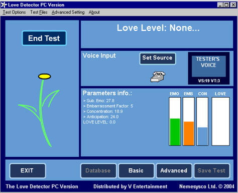"A screenshot of ""Love Dectector."""