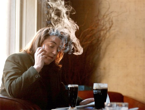 Image: Irish woman smoking in pub