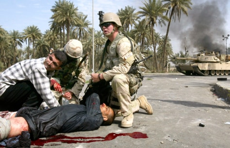 An injured Iraqi