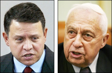 King Abdullah of Jordan, left, and Israeli Prime Minister Ariel Sharon.