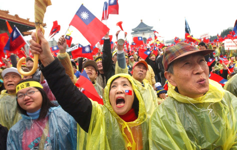 IMAGE: Taiwan opposition supporters protest