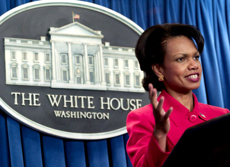 NSA Condoleeza Rice Briefs Press