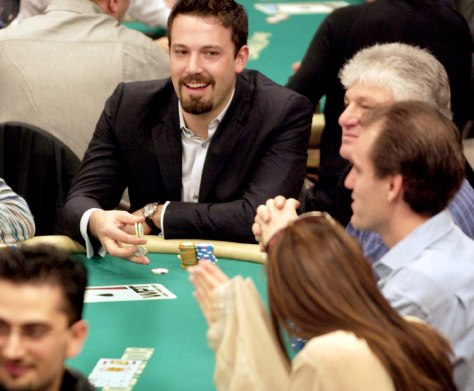 ACTOR BEN AFFLECK PLAYS POKER AT WORLD POKER TOUR INVITATIONAL IN COMMERCE, CALIFORNIA