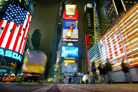 TIMES SQUARE ILLUMINATED BEFORE TURNING 100 YEARS OLD APRIL 8TH